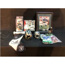 COLLECTION OF FOOTBALL MEMORABILIA INC. FIGURINES, AND MORE, AND SIGNED PICTURE OF TROY AIKMAN