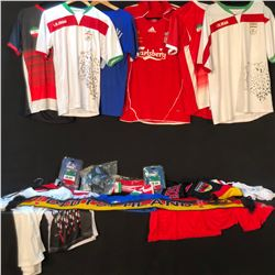 COLLECTION OF VARIOUS SOCCER CLOTHING AND APPAREL