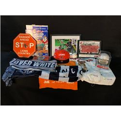 COLLECTION OF BC LIONS AND VANCOUVER WHITECAPS MEMORABILIA INC. SIGNED GEROY SIMONS PRINT