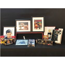 COLLECTION OF POP CULTURE MEMORABILIA INC. WRESTLING, THE GODFATHER, METALLICA DRUM STICK AND MORE