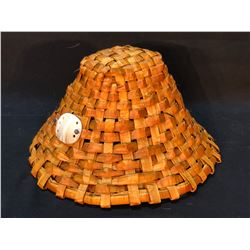WAYNE BELL, HAND WOVEN FIRST NATIONS HAT WITH ABALONE SHELL ACCENT, APPROX. 7'' TALL X 13'' WIDE