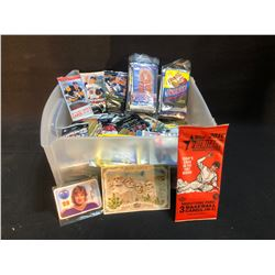 LARGE ASSORTMENT OF FACTORY SEALED TRADING CARDS INC. HOCKEY, FOOTBALL, BASEBALL AND MORE
