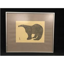 "ORIGINAL FRAMED FIRST NATIONS ART BY LUCY QUINUYUAK, FRAME CAPE DORSET, 1961, ""LARGE BEAR"",  19'' X"