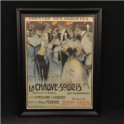 "VINTAGE FRENCH FRAMED MOVIE POSTER, ""LA CHAUVE SOURIS"", 27'' X 35'' INC. FRAME"