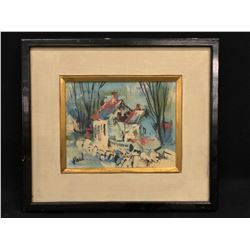 ANDREW PAUL, ORIGINAL FRAMED OIL ON BOARD PAINTING, C. 1950S, SIGNED LOWER LEFT, ABSTRACT COTTAGE