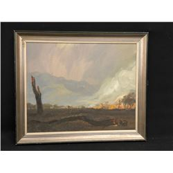 UNTITLED FRAMED OIL ON BOARD PAINTING, ARTIST UNKNOWN, ABSTRACT WILDFIRE SCENE, 19.5'' X 23.5''