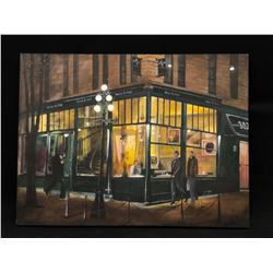 "ORIGINAL ACRYLIC ON CANVAS, ""WATER ST. CAFE"", 2015, UNFRAMED, SIGNED ON BACK BY ARTIST, 30'' X 40''"