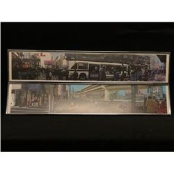 PAIR OF SURREALIST URBAN SCENE PRINTS, ARTIST UNKNOWN, FRAMED, 39.5'' X 8'' EACH