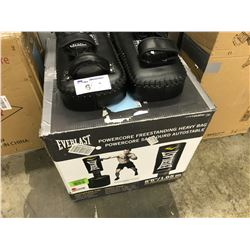 EVERLAST POWER CORE FREE STANDING HEAVY BAG AND PAIR OF CONTENDER SPARRING PADS
