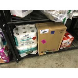 SHELF LOT OF HOUSEHOLD INCLUDING PAPER PRODUCTS