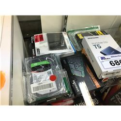 LOT OF VARIOUS SSD DRIVES, HARD DRIVES, MEMORY AND MISC.