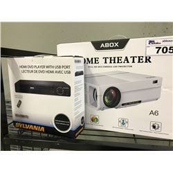 ABOX HOME THEATER 8D MULTI MEDIA PROJECTOR AND A SYLVANIA DVD PLAYER