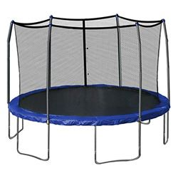 SKYWALKER MODEL SWJE 15B JUMP AND DUMP 15' ROUND TRAMPOLINE WITH BASKETBALL HOOP AND ENCLOSURE