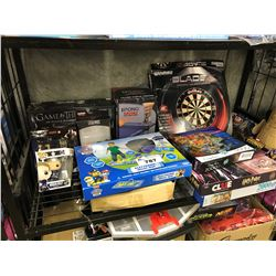 SHELF LOT OF ASSORTED BOARD GAMES, TOYS AND MORE