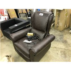 BROWN LEATHER ELECTRIC RECLINING ARM CHAIR