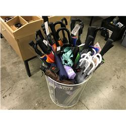 BIN OF UMBRELLAS