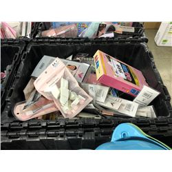 BIN OF ASSORTED DOLLAR STORE ITEMS, BIN NOT INCLUDED