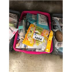 BIN OF ASSORTED DOLLAR STORE ITEMS