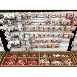 CONTENTS OF SIDE OF DISPLAY RACK INC. ASSORTED HAIR CLIPS AND MORE