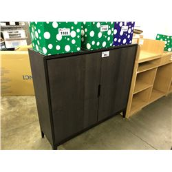 DARK WOOD 2 DOOR STORAGE CABINET