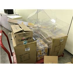LOT OF ASSORTED ACRYLIC DISPLAY BOXES, CART NOT INCLUDED