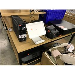 LOT OF ELECTRONICS INC. POS SYSTEM, SQUARE IPAD STATION, APC UPS UNIT, PRINTER AND MORE