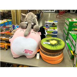 LOT OF LARGE STUFFED ANIMALS AND CUSHIONS
