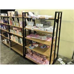 BLACK AND WOOD RETAIL DISPLAY SHELF, CONTENTS NOT INCLUDED