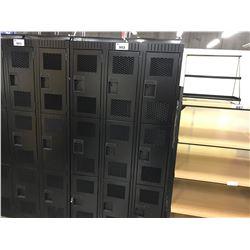 BANK OF 9 1/3' HEIGHT BLACK METAL LOCKERS