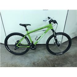 GREEN KONA CINDER CONE 27 SPEED FRONT SUSPENSION MOUNTAIN BIKE WITH FRONT AND REAR HYDRAULIC DISK