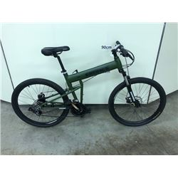 GREEN EROADE 27 SPEED FRONT SUSPENSION FOLDING MOUNTAIN BIKE WITH FRONT AND REAR DISK BRAKES