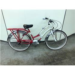WHITE AND RED SCHWINN 5 SPEED CRUISER BIKE
