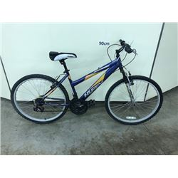 PURPLE HUFFY ROCKRIDGE 18 SPEED FRONT SUSPENSION MOUNTAIN BIKE