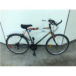 BLACK AND ORANGE TRIUMPH 18 SPEED HYBRID ROAD BIKE