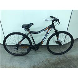 BLACK AND ORANGE HYPER KING TRAIL 21 SPEED FRONT SUSPENSION MOUNTAIN BIKE WITH FRONT AND REAR DISK