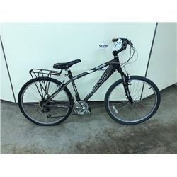BLACK AND GREY SCHWINN CADENCE 18 SPEED FRONT SUSPENSION HYBRID CRUISER BIKE