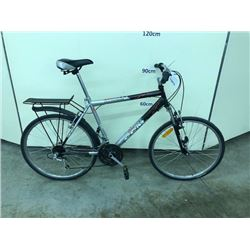 BLACK AND GREY CCM CITY EXPRESS 21 SPEED FRONT SUSPENSION HYBRID ROAD BIKE