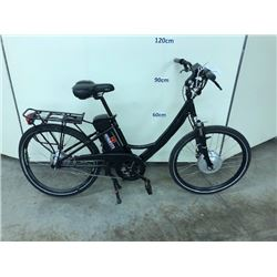 BLACK SINGLE SPEED ELECTRIC ASSIST ROAD BIKE, NO KEY, NO CHARGER