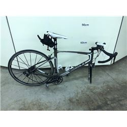 GREY GIANT COMPOSITE 24 SPEED ROAD BIKE WITH CLIP PEDALS, MISSING FRONT WHEEL