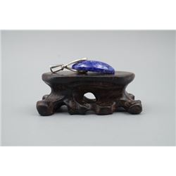 A Natural Lapis Pendnat Inlaid with 925 Silver.