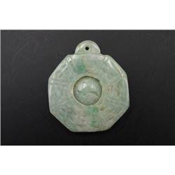 A Grade-A Laokeng Jadeite Bagua Pendant.