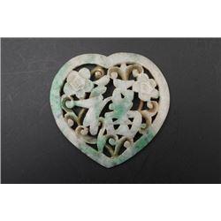 "A Grade-A Laokeng Jadeite ""Fu"" Pendant in a Heart Shape."