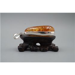 Baltic Amber Pendant with 925 Solid Silver Frame.