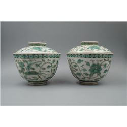 "A Pair of Doucai ""Phoenix"" Bowls and Covers."