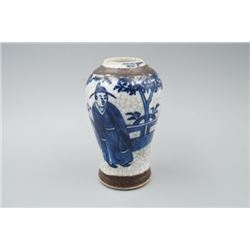 "A ""Chenghua"" Mark Blue-and-White & Tiexiuhua ""Figure"" Vase."