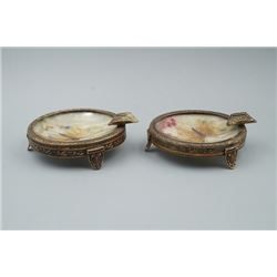 "A Pair of Two Small ""Floral and Butterfly"" Ashtrays."