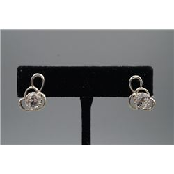A Natural Rock Crystal Earrings Inlaid with 925 Silver.