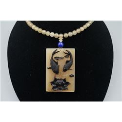 "An Antelope's Horn ""Lotus and Fish"" Pendant with Beads Necklace."