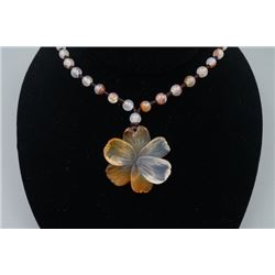 "A Deep Sea Agate ""Floral"" Pendant with Beads Necklace."