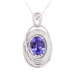 10.66 ctw Tanzanite And Diamond Pendant And Chain - 14KT White Gold